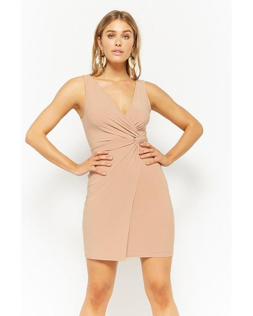 Forever 21 - Natural Twist-front Bodycon Dress - Lyst