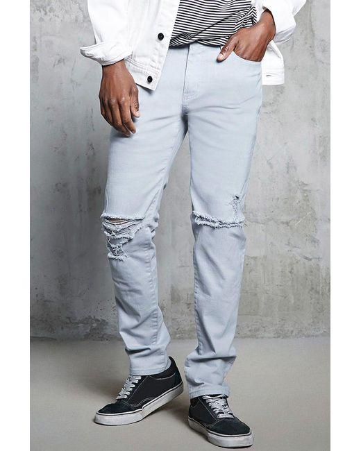 Forever 21 | Gray Slim-fit Ripped-knee Jeans for Men | Lyst