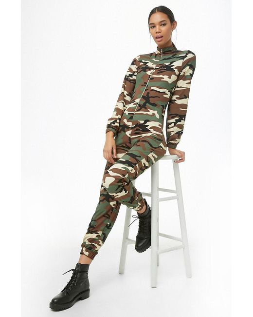 190a4f751fb Forever 21 - Green Camo Print Zip-front Jumpsuit - Lyst ...