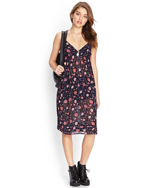 FOREVER21 - Blue Blooming Floral Slip Dress - Lyst
