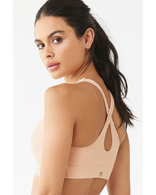 Forever 21 Multicolor Medium Impact- Crisscross Cutout Back Sports Bra , Salmon