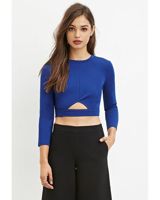 Forever 21   Blue Cutout Crop Top   Lyst