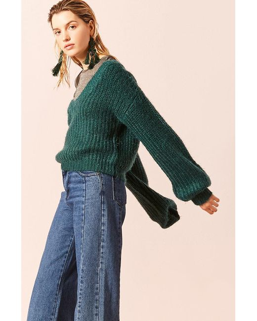 Forever 21 - Green Fuzzy Ribbed Knit Jumper Sweater - Lyst