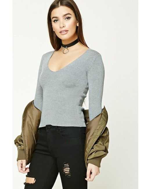 Forever 21 | Gray Ribbed V-neck Top | Lyst