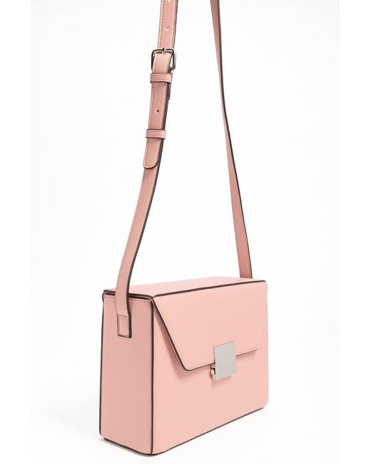 Forever 21 - Pink Faux Leather Push-lock Crossbody - Lyst