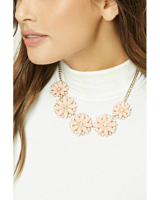 Forever 21 | Metallic Flower Statement Necklace | Lyst