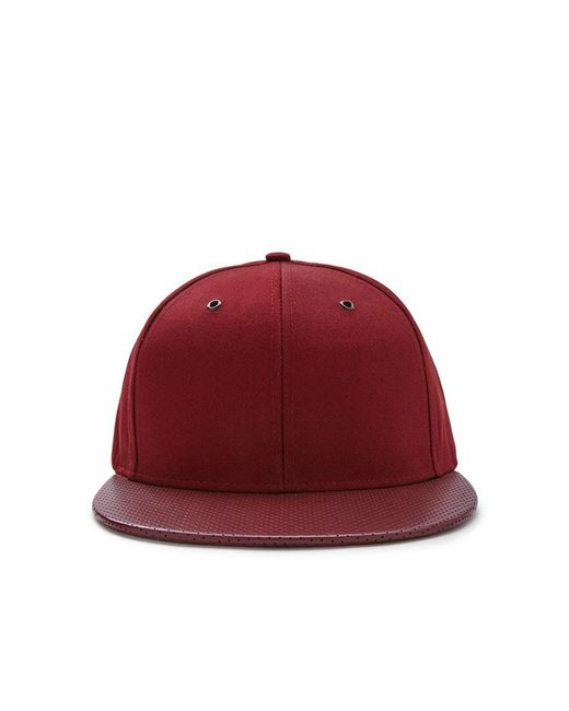 Forever 21 | Red Men Faux Leather Snapback Hat for Men | Lyst