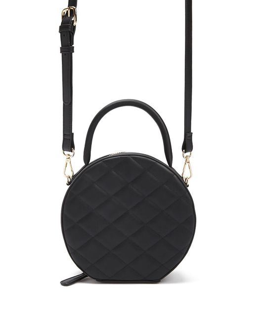 Forever 21 - Black Quilted Faux Leather Circle Crossbody - Lyst