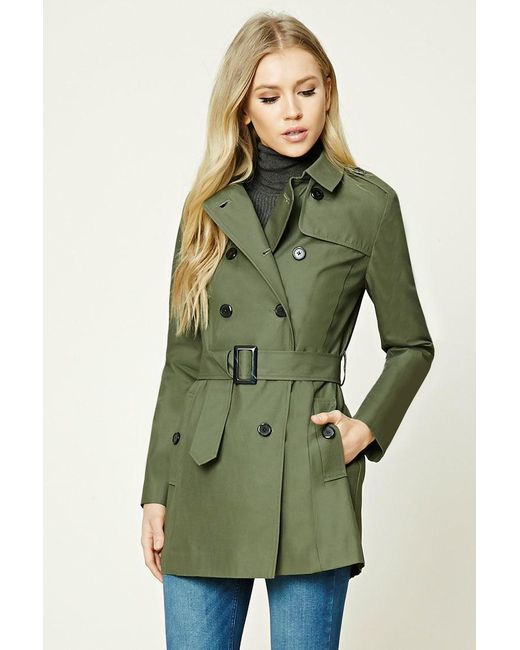 Forever 21 | Green Classic Trench Coat | Lyst