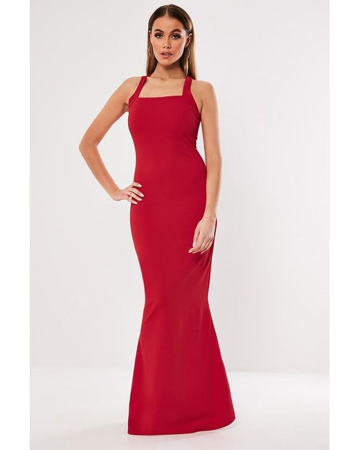 Missguided - Red Mermaid Gown At - Lyst