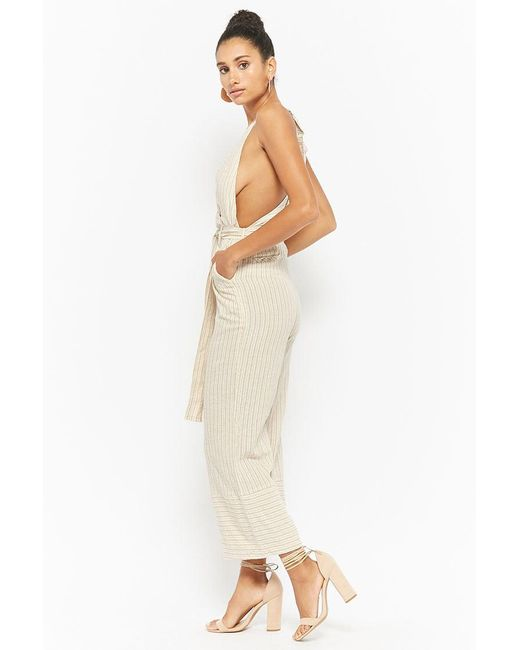 ead00cb8e91 Lyst - Forever 21 Striped Surplice Jumpsuit in Natural