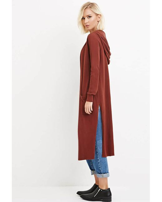 Forever 21 | Brown Hooded Longline Cardigan | Lyst