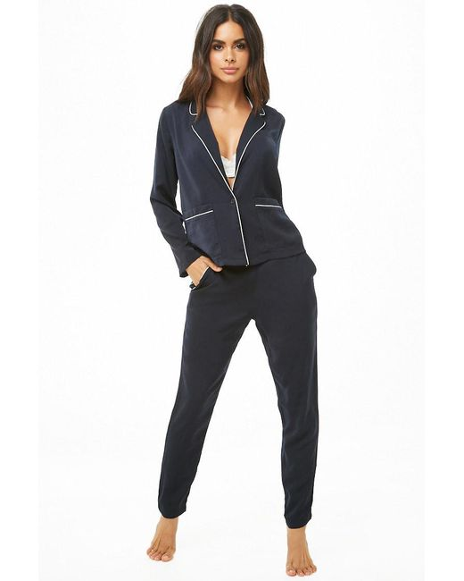 Forever 21 - Blue Contrast-piped Satin Pj Set - Lyst