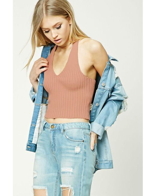 Forever 21 | Blue Ribbed Halter Neck Top | Lyst