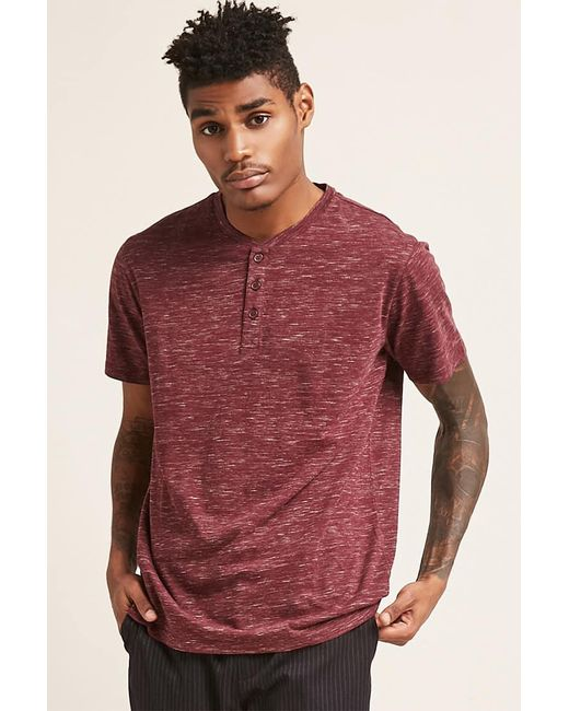 Heathered Knit Henley Tee Outlet With Paypal Order 25FtCA4zRO