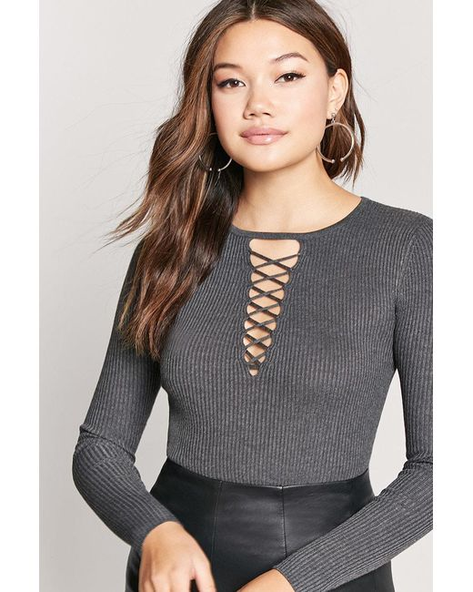 FOREVER21 - Gray Caged Ribbed Sweater - Lyst