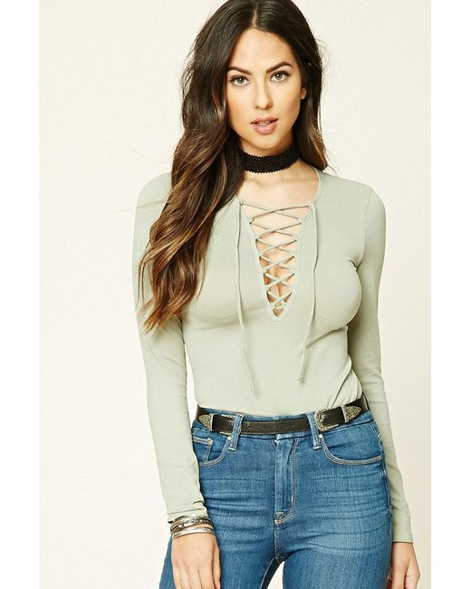 Forever 21 | Multicolor Long-sleeve Lace-up Top | Lyst