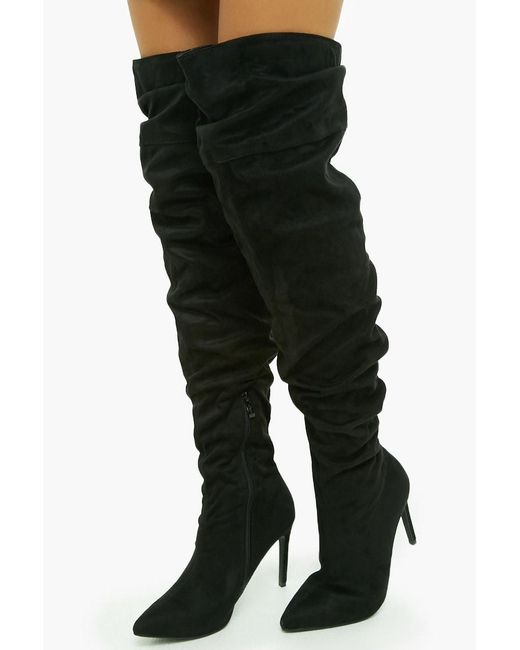 b6a7aecacc0 Forever 21 - Black Slouchy Over-the-knee Faux Suede Boots - Lyst ...
