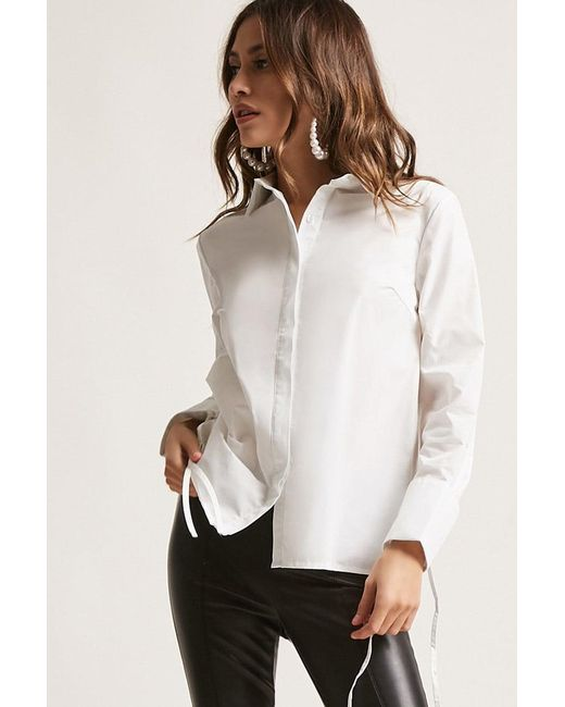 Forever 21 | White Cuffed Button-down Shirt | Lyst