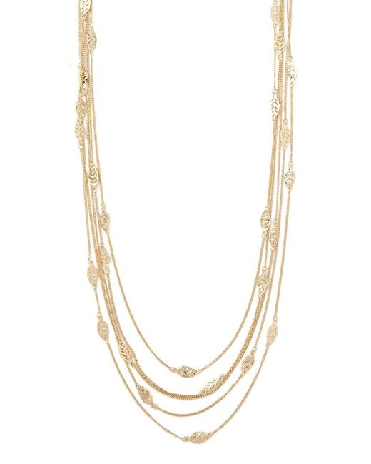 Forever 21 | Metallic Leaf Charm Layered Necklace | Lyst