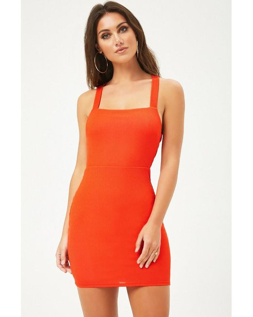 Forever 21 - Orange Ribbed Knit Bodycon Dress - Lyst