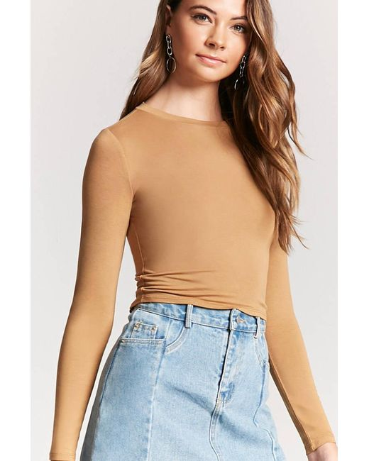 Forever 21 Long Sleeve Knit Top In Blue Lyst