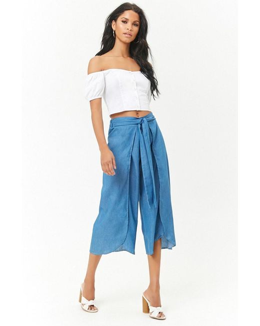 Forever 21 - Blue Chambray Tie-front Culottes - Lyst