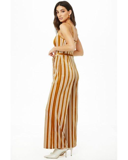 7476d74074c ... Forever 21 - Multicolor Women s Stripe Velvet Jumpsuit ...