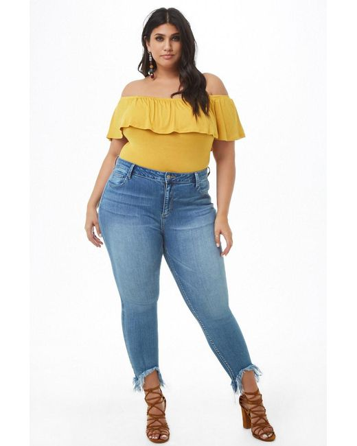 5341040f669 ... Forever 21 - Yellow Women's Plus Size Off-the-shoulder Flounce Bodysuit  ...