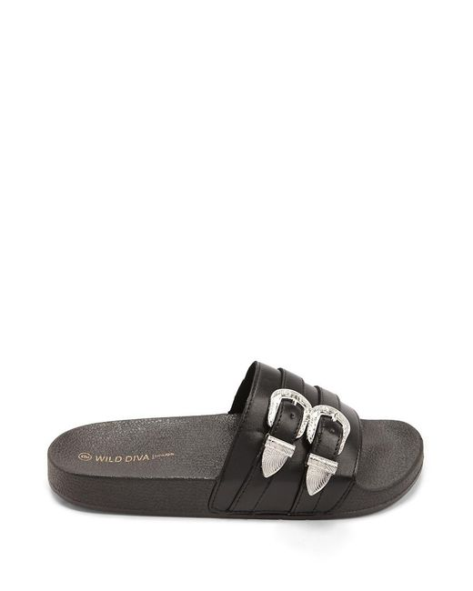 Forever 21 - Black Double-buckle Faux Leather Slides - Lyst
