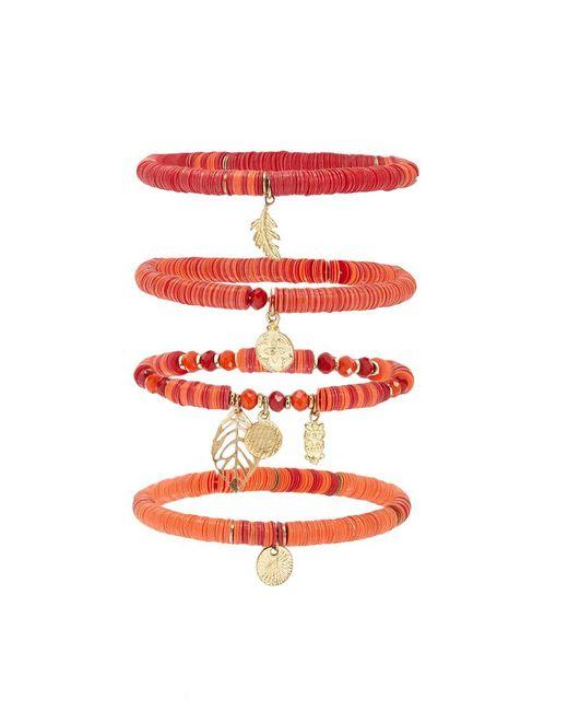 Forever 21 - Red Beaded Charm Bracelet Set - Lyst