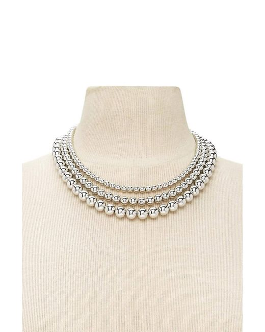 Forever 21   Metallic Beaded Layered Necklace   Lyst