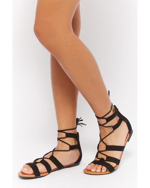 Forever 21 - Black Faux Suede Gladiator Sandals - Lyst