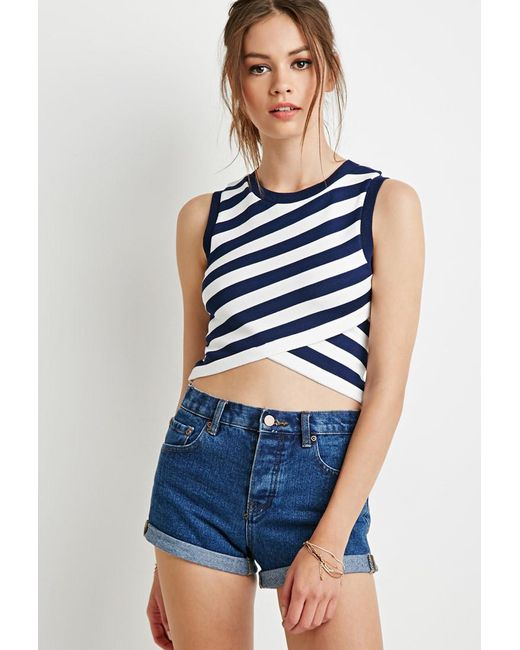 Forever 21 - Blue Striped Wrap Sweater - Lyst