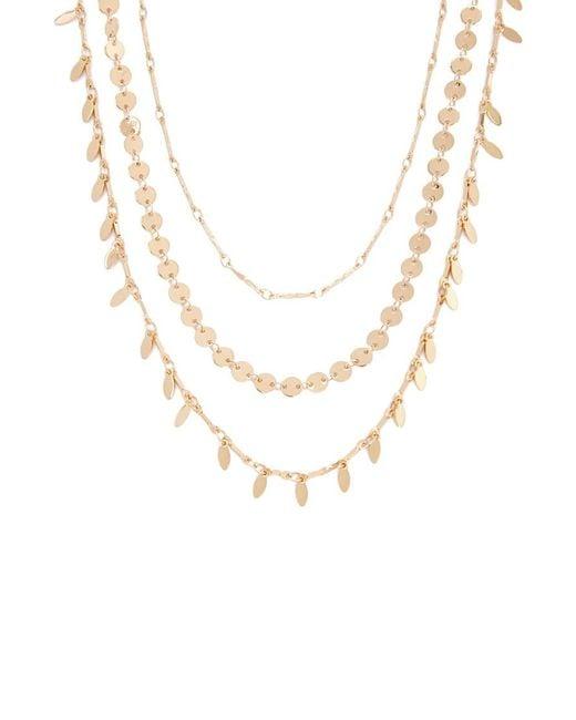 Forever 21 Metallic Disc & Leaf Charm Necklace Set , Gold