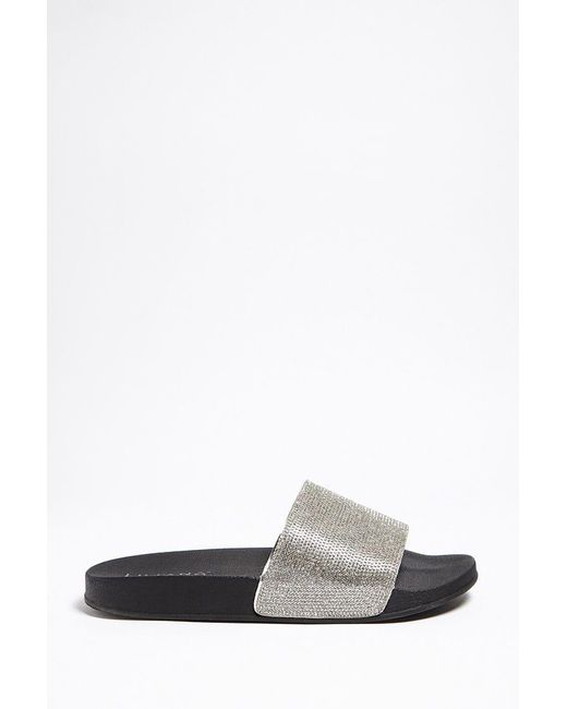 Forever 21 | Multicolor Rhinestone Faux Leather Slides | Lyst