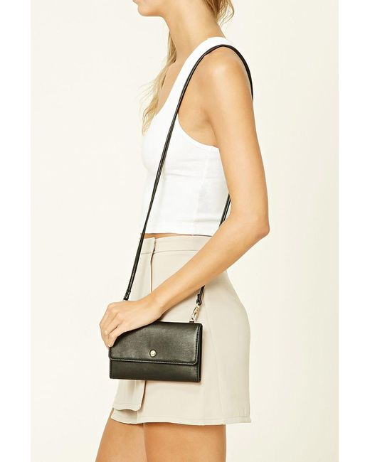 Forever 21 | Black Faux Leather Mini Crossbody | Lyst