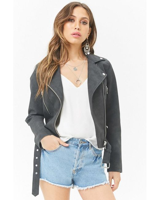 Forever 21 - Black Faux Suede Moto Jacket - Lyst