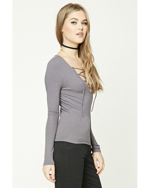 b0d944c285 ... Lyst Forever 21 - Gray Women s Ribbed Knit Lace-up Top ...