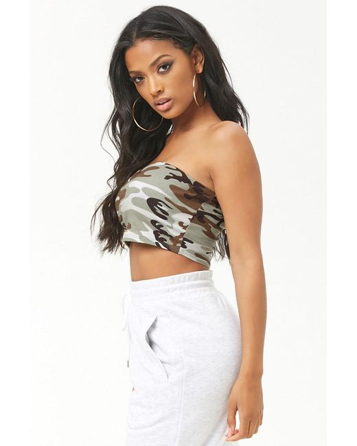 5b60a090a3 ... Forever 21 - Green Women s Camo Print Tube Top - Lyst