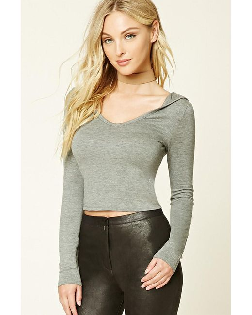 Forever 21 | Gray Heathered Knit Hoodie Top | Lyst