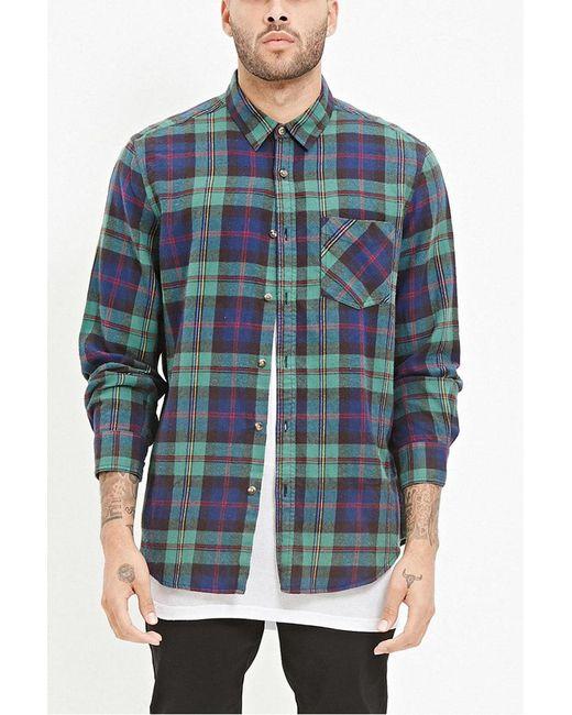 Forever 21 | Green Tartan Plaid Flannel Shirt for Men | Lyst