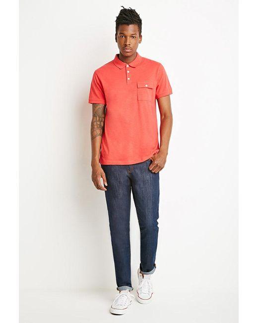 Forever 21   Orange Slub Knit Polo for Men   Lyst