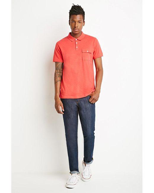 Forever 21 | Orange Slub Knit Polo for Men | Lyst