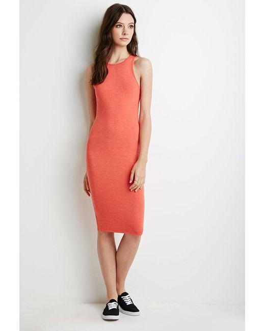 Forever 21 | Orange Heathered Midi Dress | Lyst