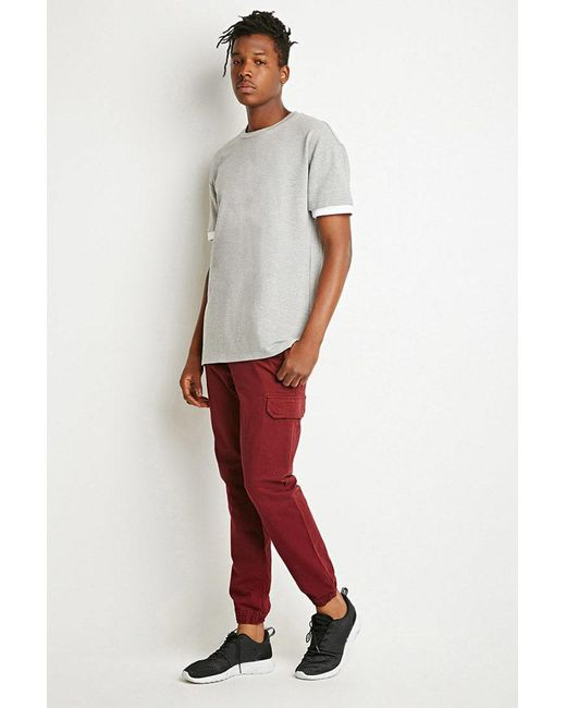 Forever 21 - Purple Twill Cargo Joggers for Men - Lyst