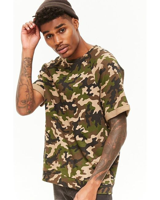 Forever 21 - Multicolor French Terry Camo Tee for Men - Lyst