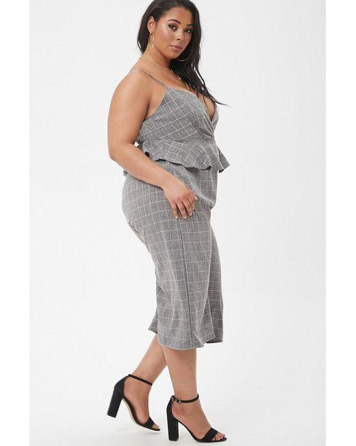23735617ef41 ... Lyst Forever 21 - Black Women s Plus Size Marled Slub Woven Grid Peplum  Culotte Jumpsuit ...