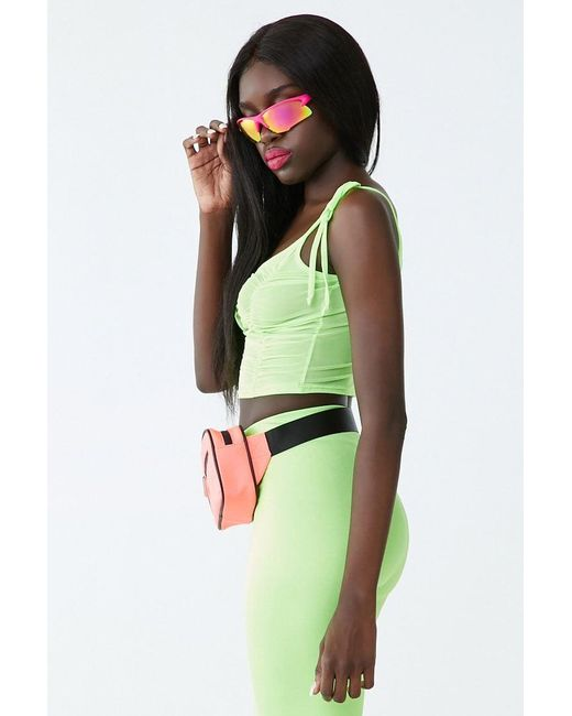 1f356ae7ad04b ... Forever 21 - Green Sheer Mesh Cropped Cami - Lyst