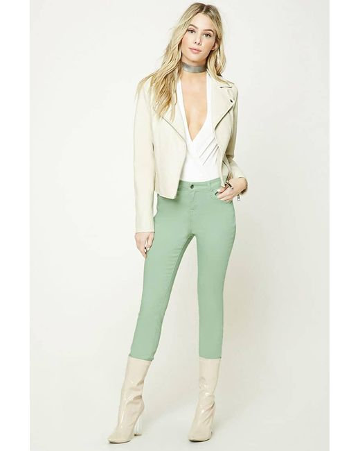 Forever 21 - Green Mid-rise Skinny Jeans - Lyst